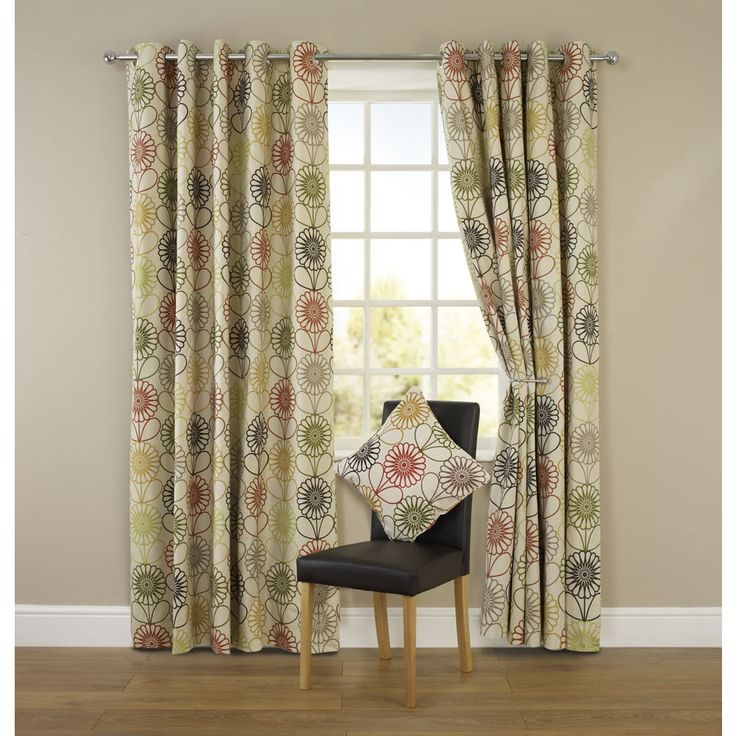 Large image of Wilko Floral Eyelet Curtains Green 228cm x 228cm - opens in a new window