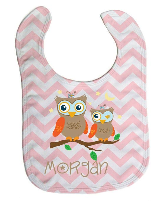 52 best personalized baby bibs images on pinterest personalized personalized owls pink chevron baby bib baby gifts baby shower gift custom negle Images