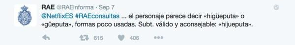 La cuenta española de Netflix en Twitter tenía unaduda lingüística a la hora de subtitular los habituales insultos de Pablo Escobar en la serie 'Narcos'y decidió ir a las fuentes: consultar