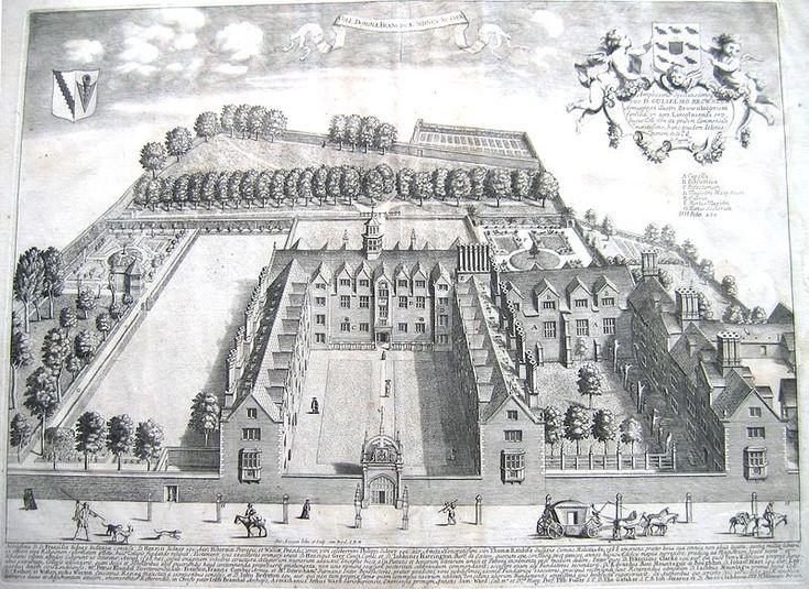 Sidney Sussex College, Cambridge by Loggan 1690.  Matthew Beverley admitted to Sidney College, Cambridge July 6 1653 age 18