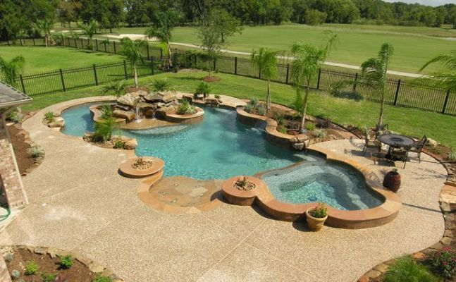 Building A Lazy River In Backyard :  up bar backyard lazy river zero entry pool spas rivers tropical pool