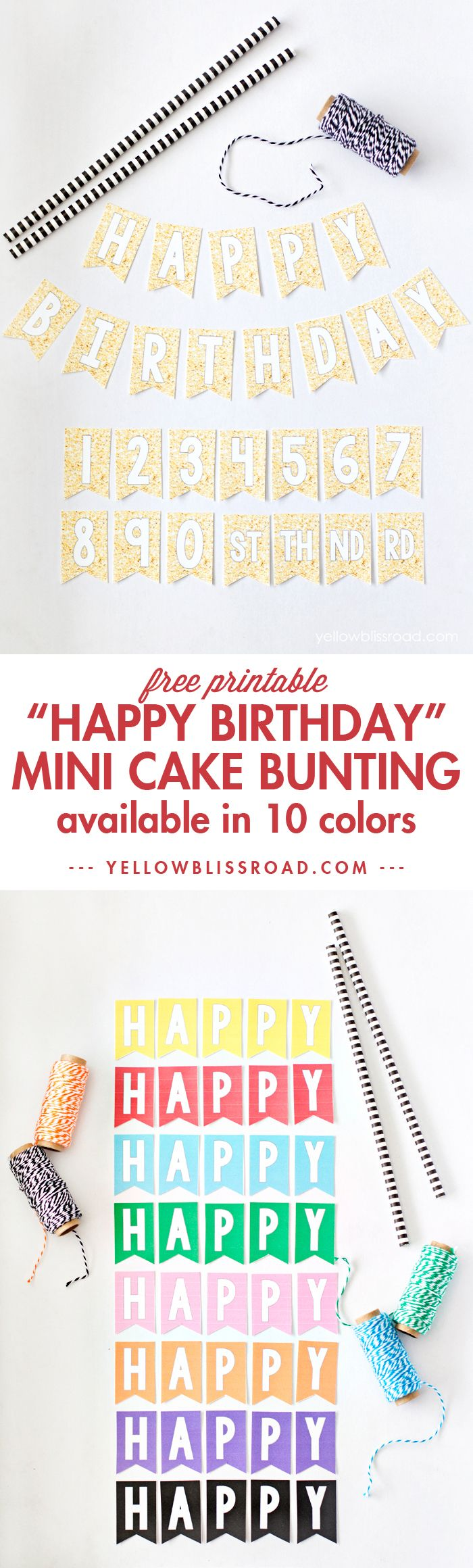 Free Printable Mini Birthday Cake Bunting in a variety of colours - could use for cards