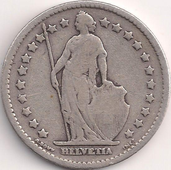 Motivseite: Münze-Europa-Mitteleuropa-Schweiz-Franken-1.00-1875-1967