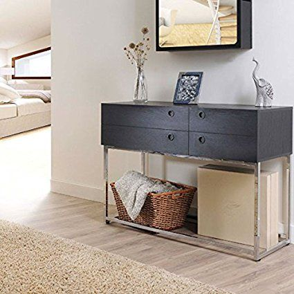 Amazon.com: Brody Contemporary Style Matte Black Finish Console Table: Kitchen & Dining