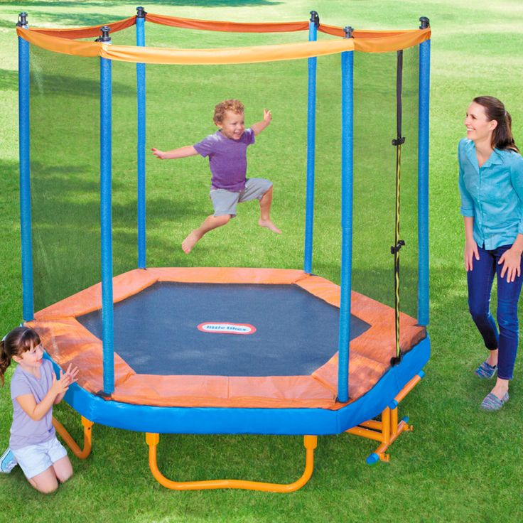 The Little Tikes Easy Store 7ft. Trampoline is easy to move around the yard and when the jumping is done fold it up and move to where ever you want to store it.