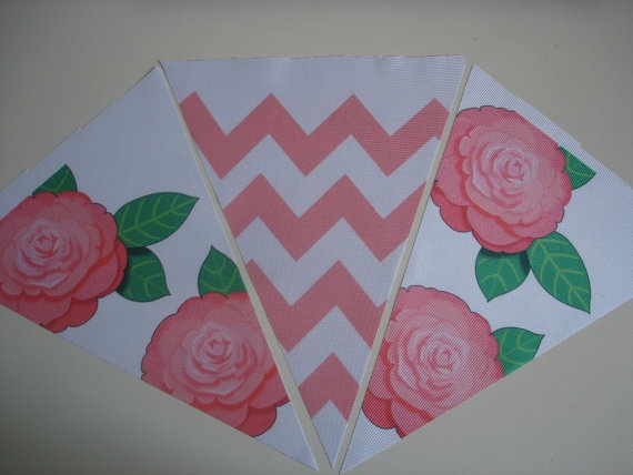 Fabric Bunting Pink Chevron Flower Combination by customflag, $19.00
