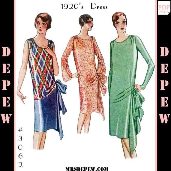 Вечерние винтажные выкройки воспроизводства дамы 1920-х годов или День платье #3062 - мгновенная загрузка