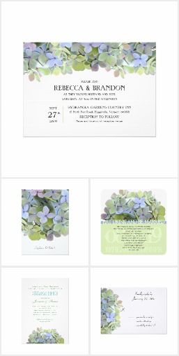 Green hydrangea wedding invitations, reply cards and matching event stationery.  Choose either tinted green flowers or the pastel shades, to decorate your custom wedding paper.