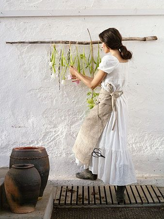 Drying flowers.