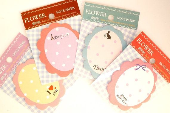 Kawaii cute FLORAL romantic STICKY notes memo by MyChildhoodDream