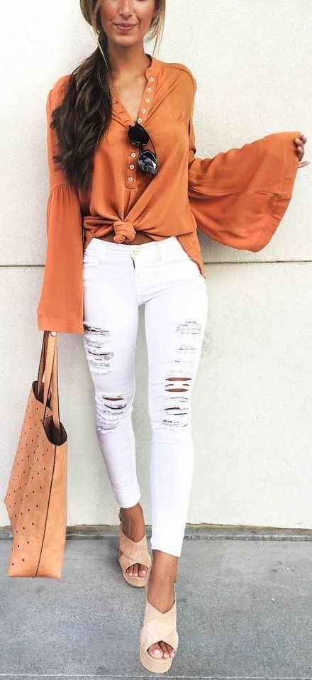 #summer #musthave #trends | Camel BellSleeve Shirt + White Ripped Jeans