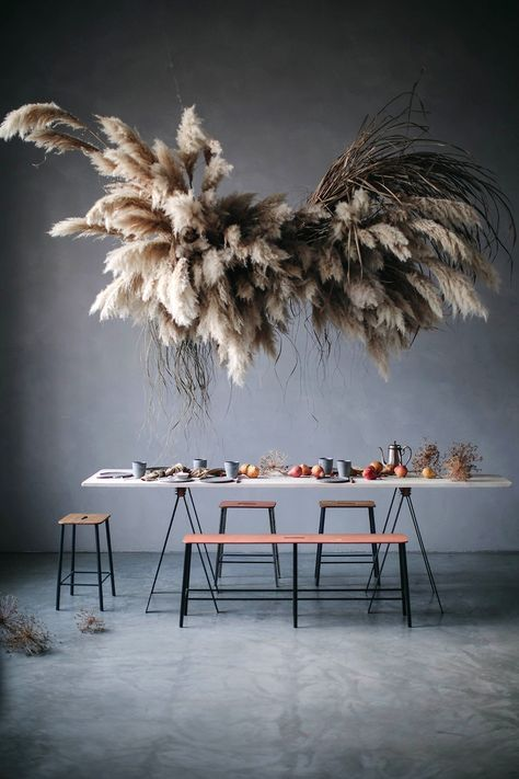 Stunning Pampas Cloud Installation by Mary Lennox and Our Food Stories in Our Food Stories Studio Berlin with a gluten-free pear cake.