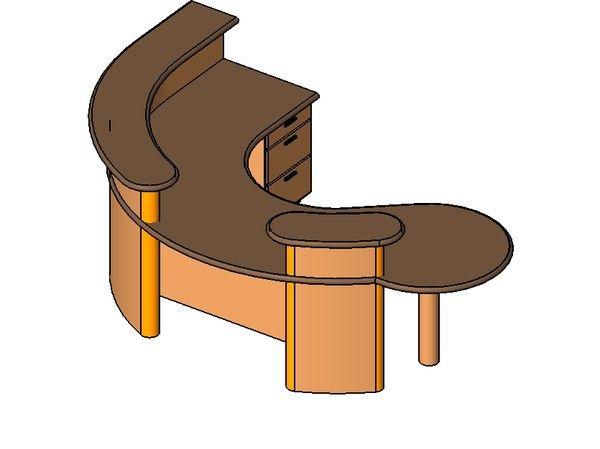 3d curved desk reception model - Curved Reception Desk by Hogmodo
