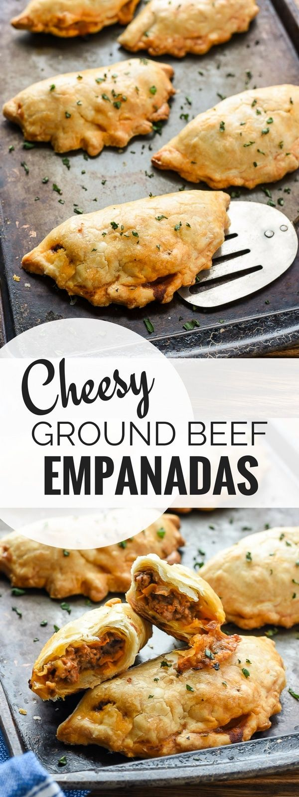 Cheesy Ground Beef Empanadas are a fun, easy, and filling meal that's great for dinner or for packing in school lunches!