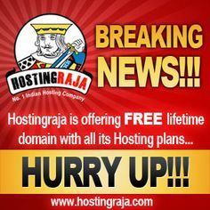 Why pay for Domain when you can have it for FREE? Purchase hosting for INR 199/month and get the domain name of your choice FREE!!!  Hosting Raja is the only web hosting company that gives FREE domain name with 1 year hosting plan.  http://www.hostingraja.in/register-domain-name