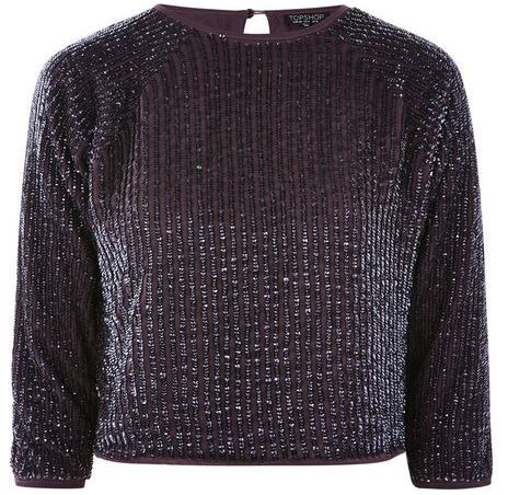 Topshop Sequin batwing top