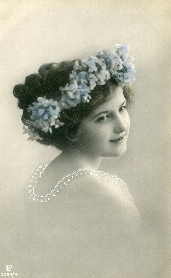 Vintage French hand tinted photo postcard - Lady with flower wreath - Victorian…