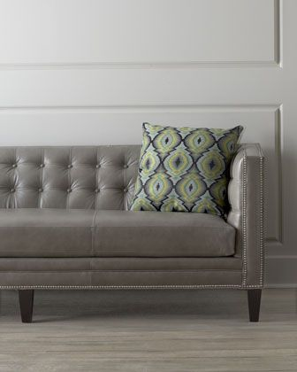 I'm in love with this Dove Grey leather sofa!