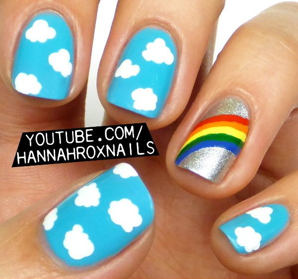 Rainbow and Clouds Nail Art | Different day different nail polish... in  2018 | Nail Art, Nails, Rainbow nails - Rainbow And Clouds Nail Art Different Day Different Nail Polish