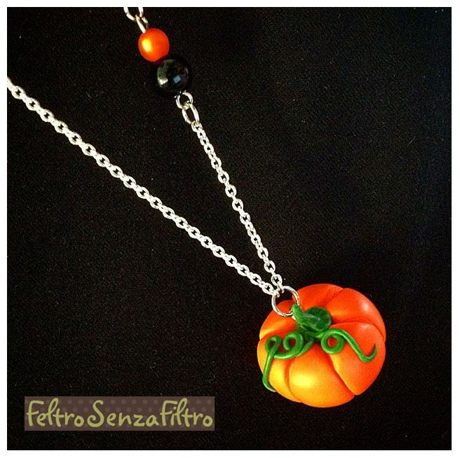 #Polymerclay #Pumpkin #Pendant #Halloween - #Zucca in #Fimo #Collana