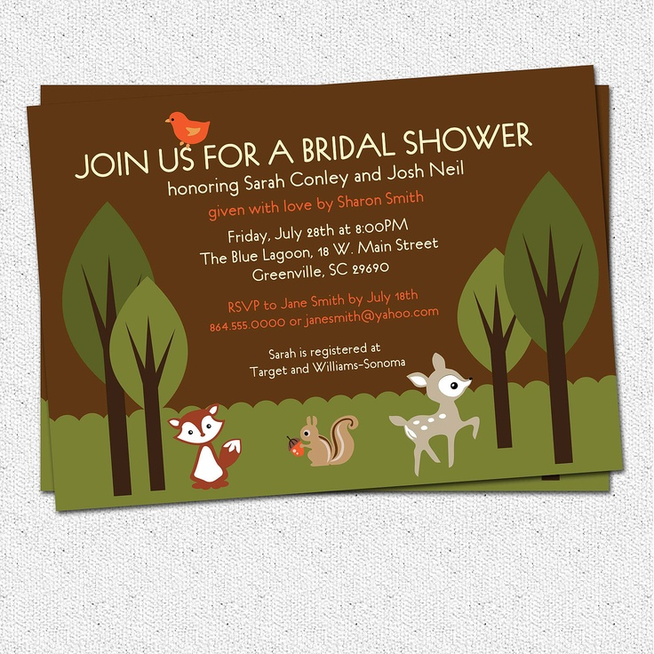 free printable camo baby shower invitations templates%0A Bridal Shower Invitations Printable  Woodland  Creatures  Animals   Squirrel  Deer  Bird
