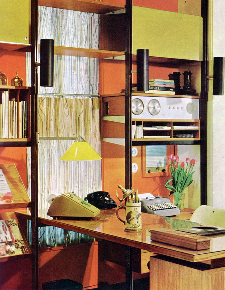 mid century modern home office mcm