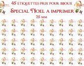 Etiquettes prix pour vos bijoux thème Noêl 25mm à imprimer. : Images digitales pour bijoux par fee-des-images