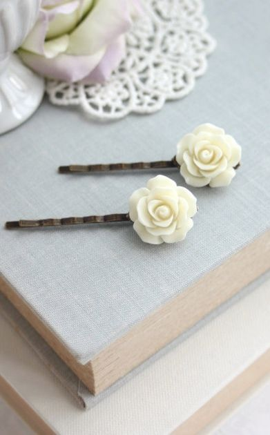 Ivory Cream Rose Flower Hairpins, Filigree Hair Pins, Rose Bobby Pins, Set of Two 2 Ivory Flowers, Bridal Bridesmaids Gift, 2 Cream Rose by Marolsha - https://www.etsy.com/listing/152626123/ivory-cream-rose-flower-hairpins?ref=listing-shop-header-1