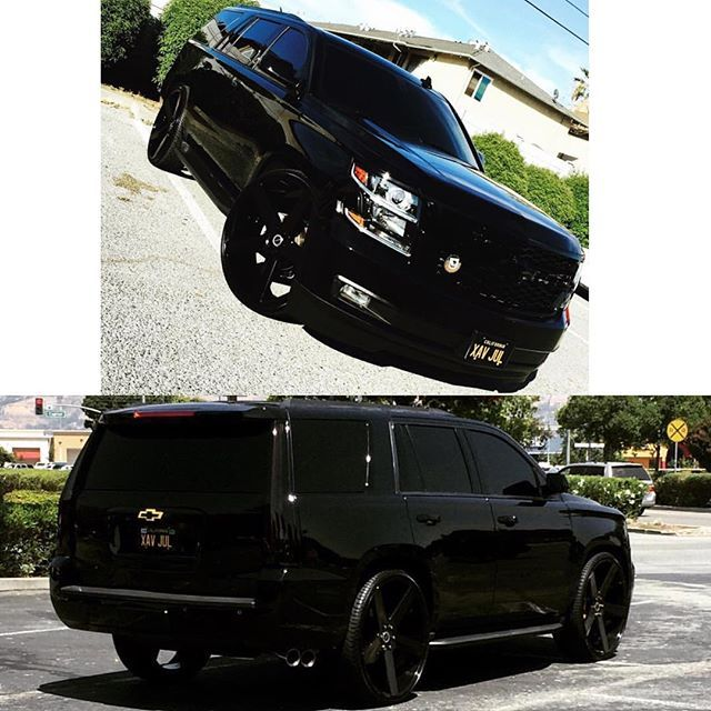 "Murdered Tahoe on 28"" @stradawheels with the escalade taillights. @perez_filibert #28s #tahoe #chevy #stradawheels #stradaornada #murdered #murderedout #bombwhips"