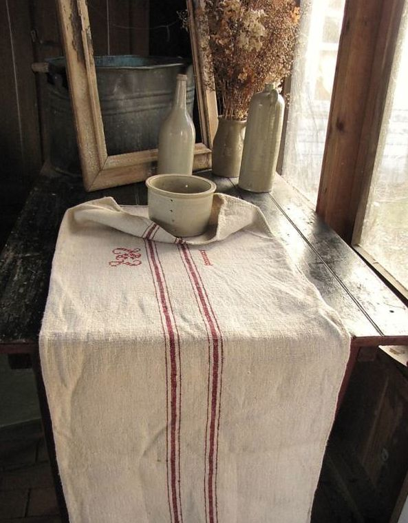 Gorgeous Grain Sack With Embroidered Initials #country #grain Sack #flour  Sack #vintage