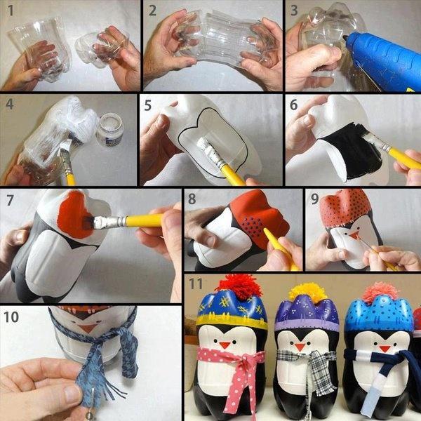 Pingüinos con material reciclado