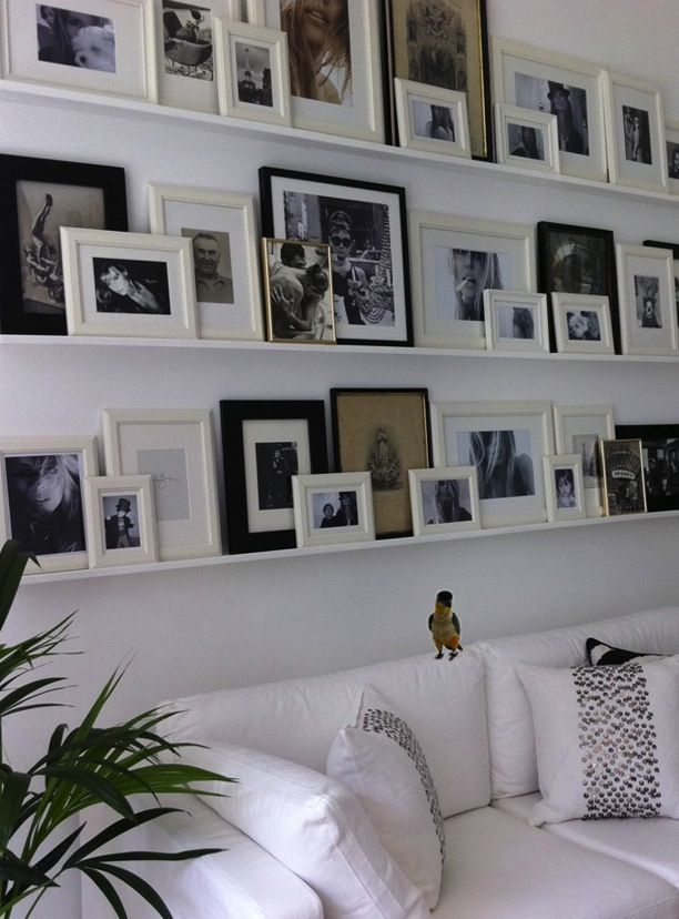 Different photo ledge options for wall