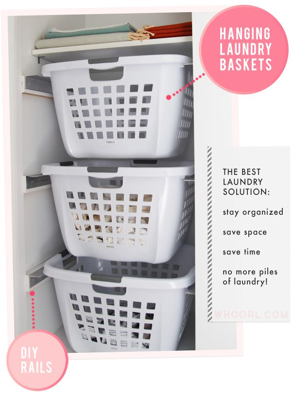 laundry baskets for colours, whites and blacks hidden in a cupboard. use cute wicker baskets with ribbons/bows.
