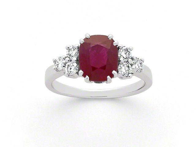 34193 : Bague Rubis 2,37 carats et Diamants 0,40 Carat G VS Or blanc
