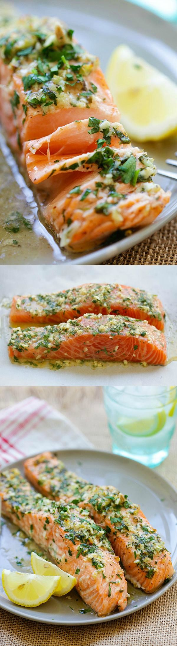 Garlic Herb Roasted Salmon – best roasted salmon recipe ever! Made with butter, garlic, herb, lemon and dinner is ready in 20 mins   rasamalaysia.com