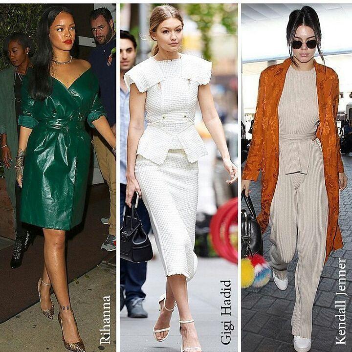 Birazda ünlü stili ayakkabılar elbiseler tulumlar ceketler bakalım ne giymişler #kendalljenner o tulum ve ceketteki renkkk olayı bitirmiş.Muhteşem bu renk uyumunu yazdım beynime#rihanna esmer tende yeşil nasılda göz kamaştırıcı durmuş ya yeşil elbise kırmızı Ruj tam kıvamında  sanırım kumaş cinsininde etkisi var parlak bir kumaş ama müthiş gerçekten ve beyazzz bu seneki favorim baştan aşağı beyaz giyinmek tabiki satarım sensin…