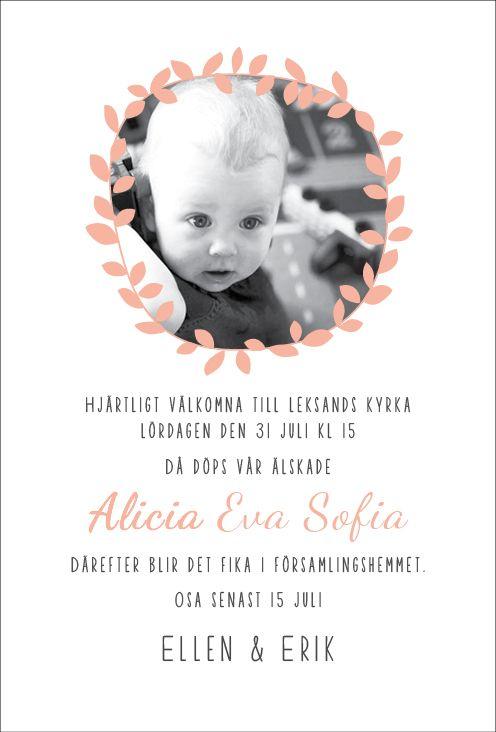 Bladkrans - Inbjudningskort till dop eller namngivning. Anna Göran Design