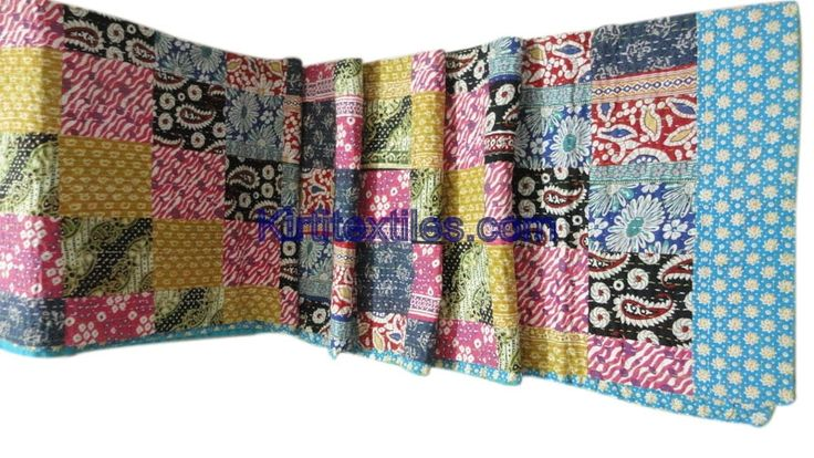 Floral Bengali Gudri Sanganeri Block Printed Cotton Fabric Made Vintage Style Patchwork  Elegant Look Throw Bedspread From Jaipur Rajasthan India