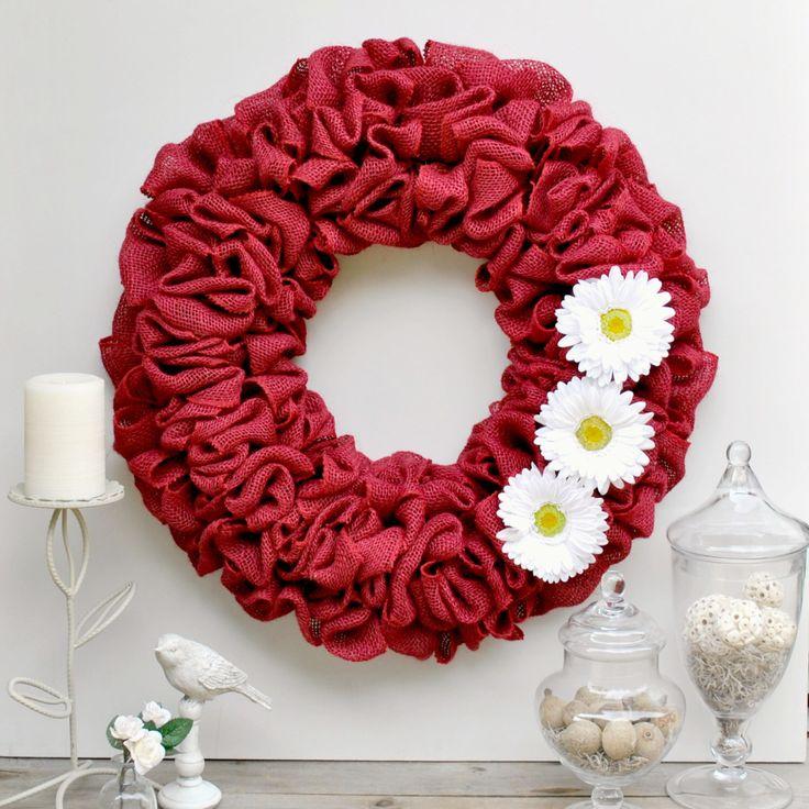 "Red Burlap Wreath For Front Door, Burlap Flower Wreath, Daisy Wreath, Summer Burlap Wreath, Decorative Wreaths, 19"" or 22"" Red Door Wreath by DesignsByDanaC on Etsy https://www.etsy.com/listing/196539333/red-burlap-wreath-for-front-door-burlap"