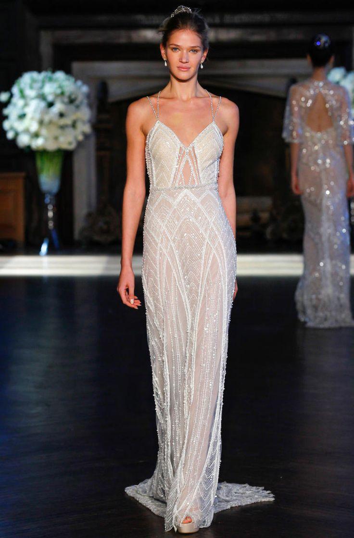 Alon Livne Fall 2016 embellished netting A-line wedding dress | https://www.theknot.com/content/alon-livne-wedding-dresses-bridal-fashion-week-fall-2016