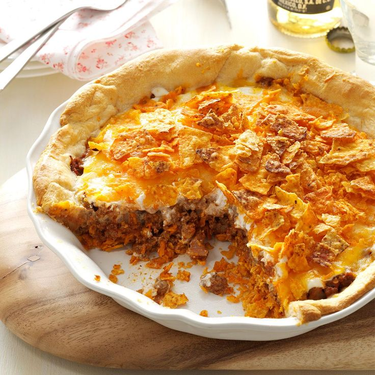 Beef Nacho Pie Recipe -I like to spend time in the garden, so I look for recipes that don't require hours in the kitchen. This savory Southwestern pie has a short list of ingredients and is a snap to prepare. —Doris Gill, Sargent, Nebraska