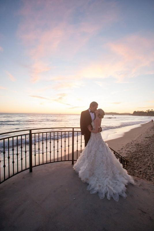 Butterfly Beach at sunset.  Four Seasons Biltmore Santa Barbara Wedding | Miki & Sonja Photography | www.mikiandsonja.com