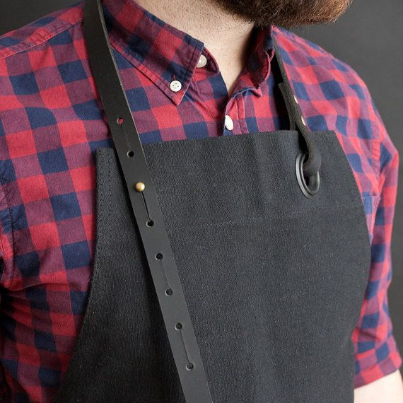 Creative Tonic loves Canvas Apron with leather pocket black / Tablier en by NOIRnBLACK