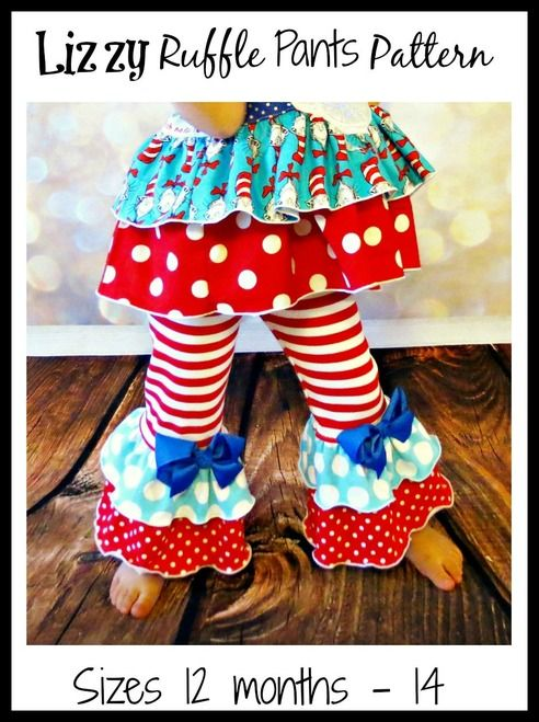 Girls Lizzy Ruffled Pants Pattern by Ellie and Mac | PDF Sewing Patterns for Girls | Pants | Girl's Ruffle Bottoms