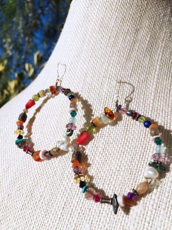 d5d568bad2bab Multi-Gemstone Hoop Earrings | Semi Precious Stones | Bohemian ...