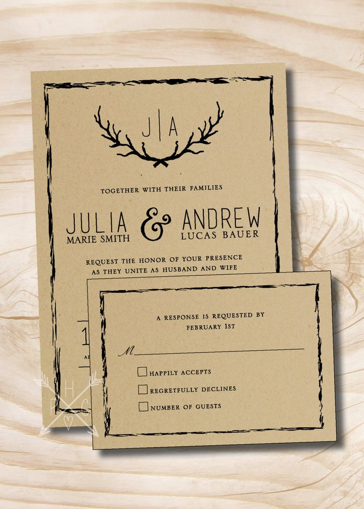 reply to wedding invitation m%0A Rustic Antlers Branches Winter Wedding Invitation and Response Card and RSVP  Invitation Suite by PaperHeartCompany on