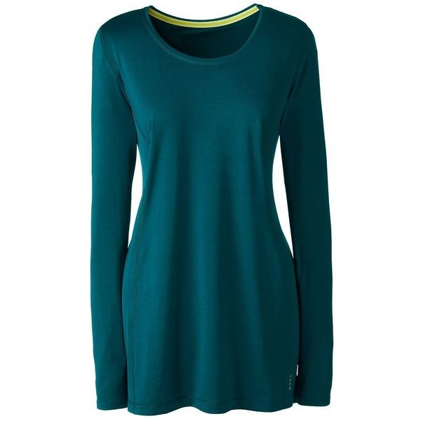 Lands' End Women's Plus Size Active Long Sleeve Tunic Top ($30) ❤ liked on Polyvore featuring plus size women's fashion, plus size clothing, plus size activewear, plus size activewear tops, green, plus size sportswear, lands' end and women's plus size activewear