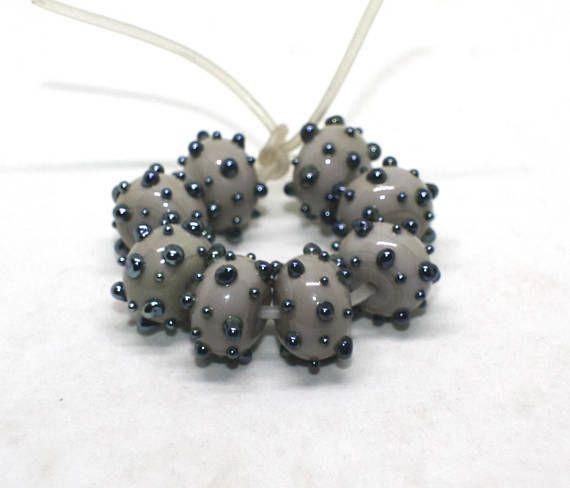 Set 8 Rondelle Beads 8 mm x 12 mm Gray Steel Metallic