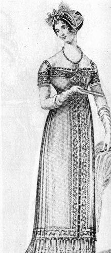 384. Из английского модного журнала, 1810г. Вечерний туалет в античном стиле