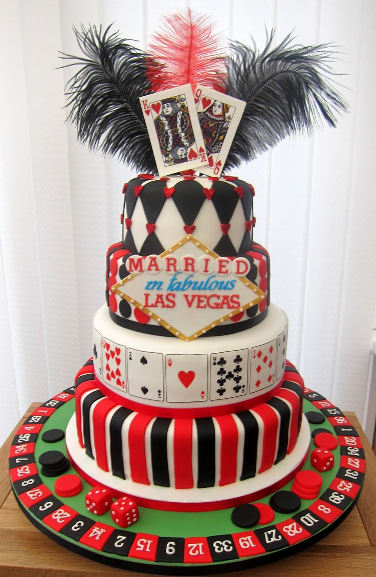 - Wedding cake for a couple who were married in vegas and wanted me to design a cake based on the vegas theme.